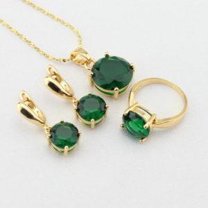 oro verde - parure con smeraldi